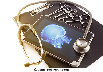 tablette, diagramme médical, stéthoscope, image, écran, rayon x