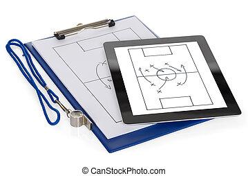 tablette, diagramme, papier, tactique, numérique, football