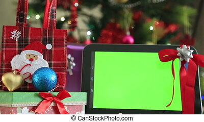 tablette, digital, grün, schirm