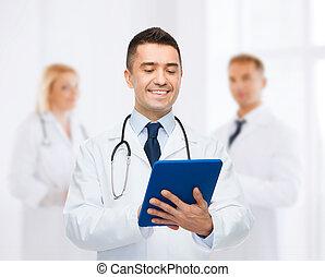 tablette, docteur, hôpital, pc, sourire, mâle