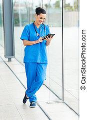 tablette, docteur, monde médical, jeune, pc, utilisation