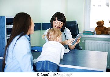 tablette, docteur, monde médical, mère, résultats, projection