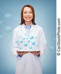 tablette, docteur, ordinateur pc, femme, sourire