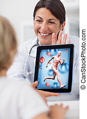 tablette, docteur, projection, informatique, enfant, sourire