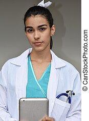 tablette, doktor, junger, spanisch, weibliche , ernst