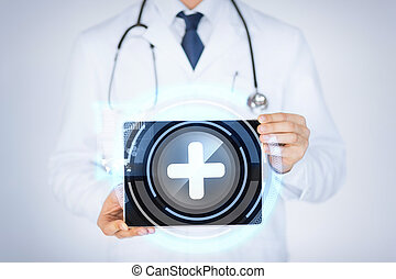 tablette, doktor, medizin, pc, besitz, mann, app