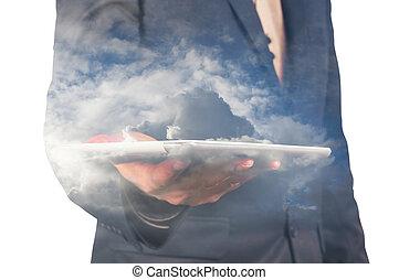 tablette, double, isolé, haut, homme affaires, fin, nuage blanc, exposition