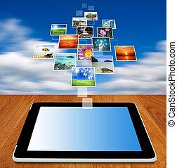 tablette, edv, strömend, bilder