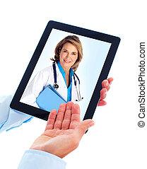tablette, edv, und, doktor, woman.