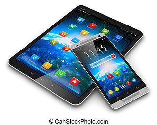 tablette, edv, und, smartphone