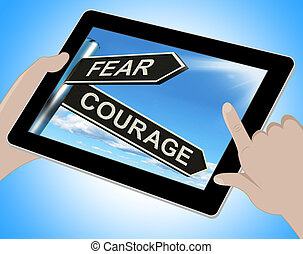 tablette, effrayé, courageux, courage, peur, ou, spectacles