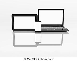 tablette, electronics., mobile, ordinateur portable, téléphone, pc., 3d