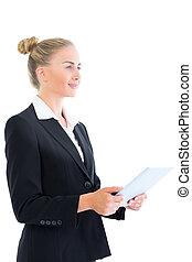 tablette, elle, femme affaires, jeune, gai, tenue, vue côté