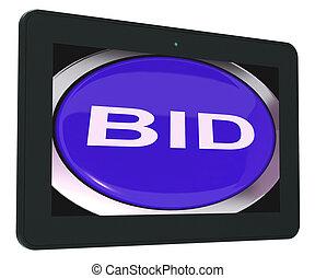 tablette, enchère, offre, enchère, ligne, ou, spectacles