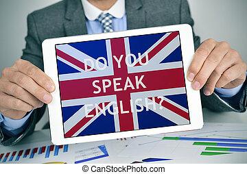 tablette, english?, question, informatique, vous, parler