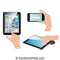 tablette, ensemble, générique, vecteur, vide