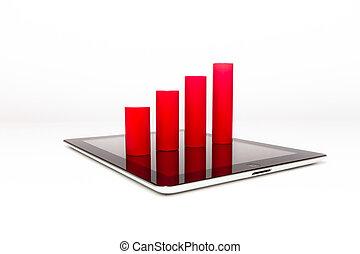tablette, et, graphique barre