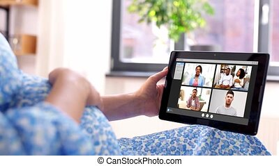 tablette, femme, pc, pregnant, vidéo, avoir, appeler