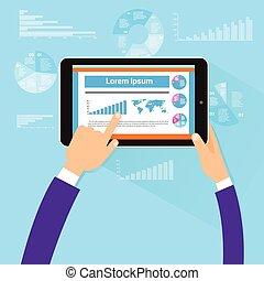 tablette, finance, diagramme, main, écran tactile, doigt, plat, vecteur