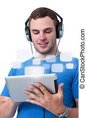 tablette, fonctionnement, écouteurs, jeune, pc, homme