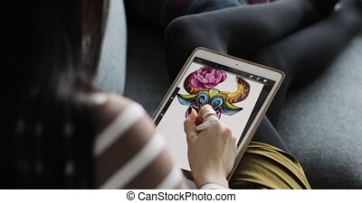 tablette, fonctionnement, pen., exposer, haut, stylo, numérique, fin, dessin, interactif