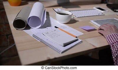 tablette, fonctionnement, projet, informatique, architecte, maison