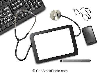 tablette, fournitures, docteur., toucher, bureau, table, ...