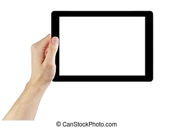 tablette, générique, écran, main, pc, adulte, tenue, blanc, homme