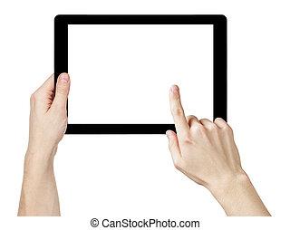 tablette, générique, écran, pc, adulte transmet, utilisation, blanc, homme