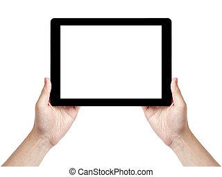 tablette, générique, main, adulte, tenue, homme