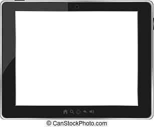 tablette, générique, pc, arrière-plan noir, blanc