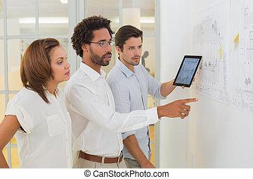 tablette, gens bureau, business, numérique, utilisation, réunion