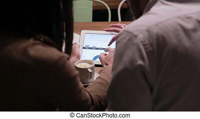 tablette, gens, fonctionnement, business, diagrammes