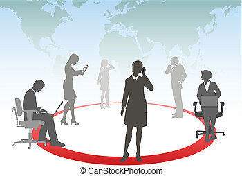 tablette, geschäftsmenschen, medien, laptop, telefon, edv, verbinden, berühren, klug, vernetzung