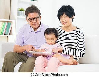 tablette, grandiose fils, parents, asiatique, internet, enseignement