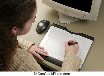 tablette graphique, artiste