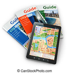 tablette, guide voyage, pc, navigation, books., gps
