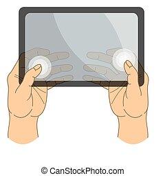 tablette, hands., ensemble, vector., écran