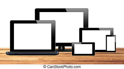 tablette, handy, edv, pc, tisch