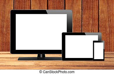 tablette, handy, edv, pc, tisch, hölzern
