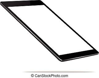 tablette, haut, isolé, vecteur, noir, perspective, conception, blanc, railler, vue