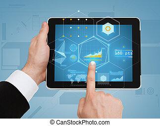 tablette, haut, pc, toucher, mains, fin, homme