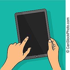 tablette, holing, mains, screen., informatique, vide