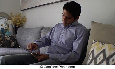 tablette, homme, beau, utilisation, maison