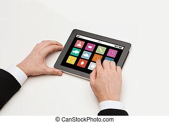 tablette, icônes, app, haut, pc, mains, fin, homme