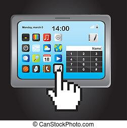 tablette, icônes