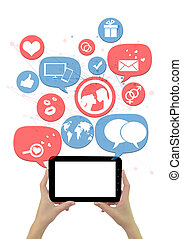 tablette, icônes, isolé, site, gabarit, ligne, blanc, dater