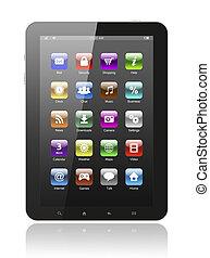 tablette, icônes, pc, fond, blanc
