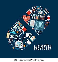 tablette, icônes, pilule, forme, healthcare, ou