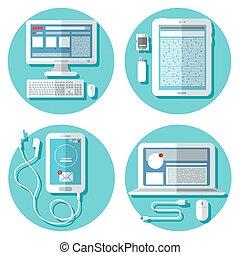 tablette, icônes, set., moderne, illustration, ordinateur portable, accessories., vecteur, technology:, informatique, smartphone